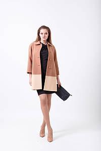 Двухцветное кашемировое пальто свободного кроя на пуговицах