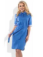 Легкое голубое платье с поясом Д-1082