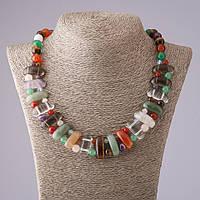 Ожерелье Клеопатра ассорти камней звено 12*25 мм и шарик 10mm L50см