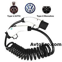 Зарядный кабель Volkswagen e-GOLF Type1 (J1772) - Type 2 (32A - 3 метра), фото 1