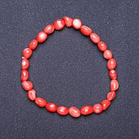 Браслет натуральный Коралл розовый на резинке галтовка L- 18см d- 6мм