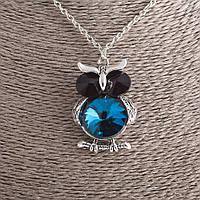 Кулон Важная Сова с синим кристаллом на цепочке d-4х3см L-53см