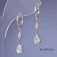 """Серьги Xuping с белыми кристаллами L-3см цвет металла """"серебро"""""""