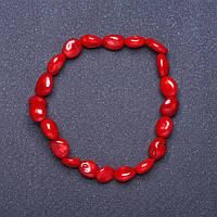 Браслет натуральный Коралл красный на резинке галтовка L- 18см d- 6-8мм
