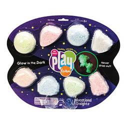 Шариковый пластилин Playfoam  8 цветов светящийся в темноте ОРИГИНАЛ США   Learning Resources