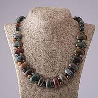 Ожерелье Клеопатра Яшма и Моховый Агат звено 12*25 мм и шарик 10mm L50см