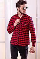 """Стильная мужская рубашка в клетку """"RIAL"""" с длинным рукавом"""