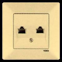 Розетка телефонная двойная VIKO MERIDIAN кремовая (90970233)