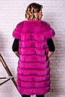 Жилетка  Женская Песцовая Удлиненная 90 см Розовая код 004 ОЖ, фото 3
