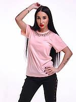 """Красивая розовая футболка """"Розовый жемчуг"""", фото 1"""