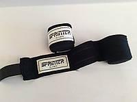 Бинт боксёрский хлопок+нейлон, 4 м черный, фото 1