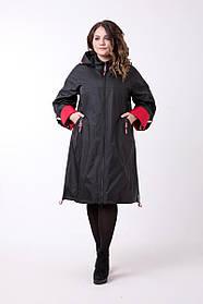 Женский плащ-ветровка А-образного силуэта 626 / размер 52-72 / цвет черный / большие размеры