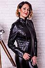 Куртка Кожаная Черная С Молниями 034МК, фото 2