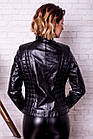 Куртка Кожаная Черная С Молниями 034МК, фото 3