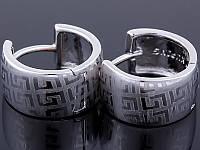 Серьги, посеребренные с родиевым покрытием, размер 15х8 мм