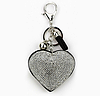 Брелок черное сердце со стразами, кисточкой и шариком, фото 2