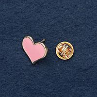 Брошь на закрутке Сердце розовая эмаль 2 см желтый металл