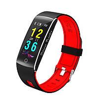 F10 Фитнес браслет цветной дисплей тонометр для iPhone Android трекер пульсометр калории бег черно-красный