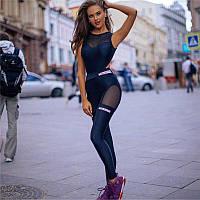 Чорний спортивний комбінезон для фитнеса FITNESSKISA