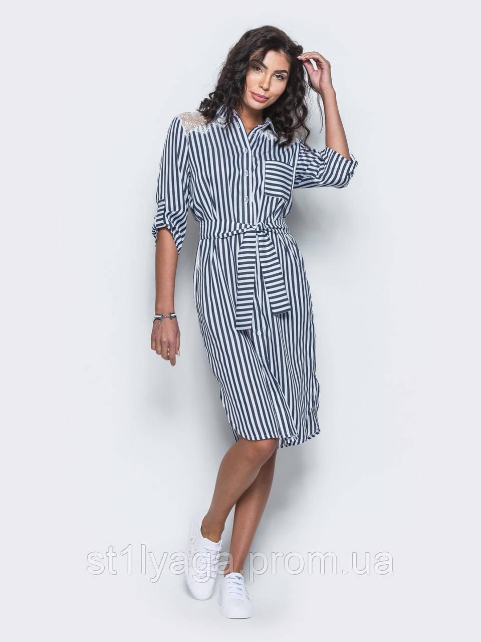 d82a113e8d57 Полосатое платье с кружевом на плечах и рукавами три четверти ...