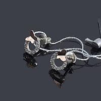Серебряные серьги Кари с золотом и цирконием