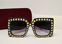 Женские солнцезащитные очки Gucci 0145 copy (Черный цвет), фото 1
