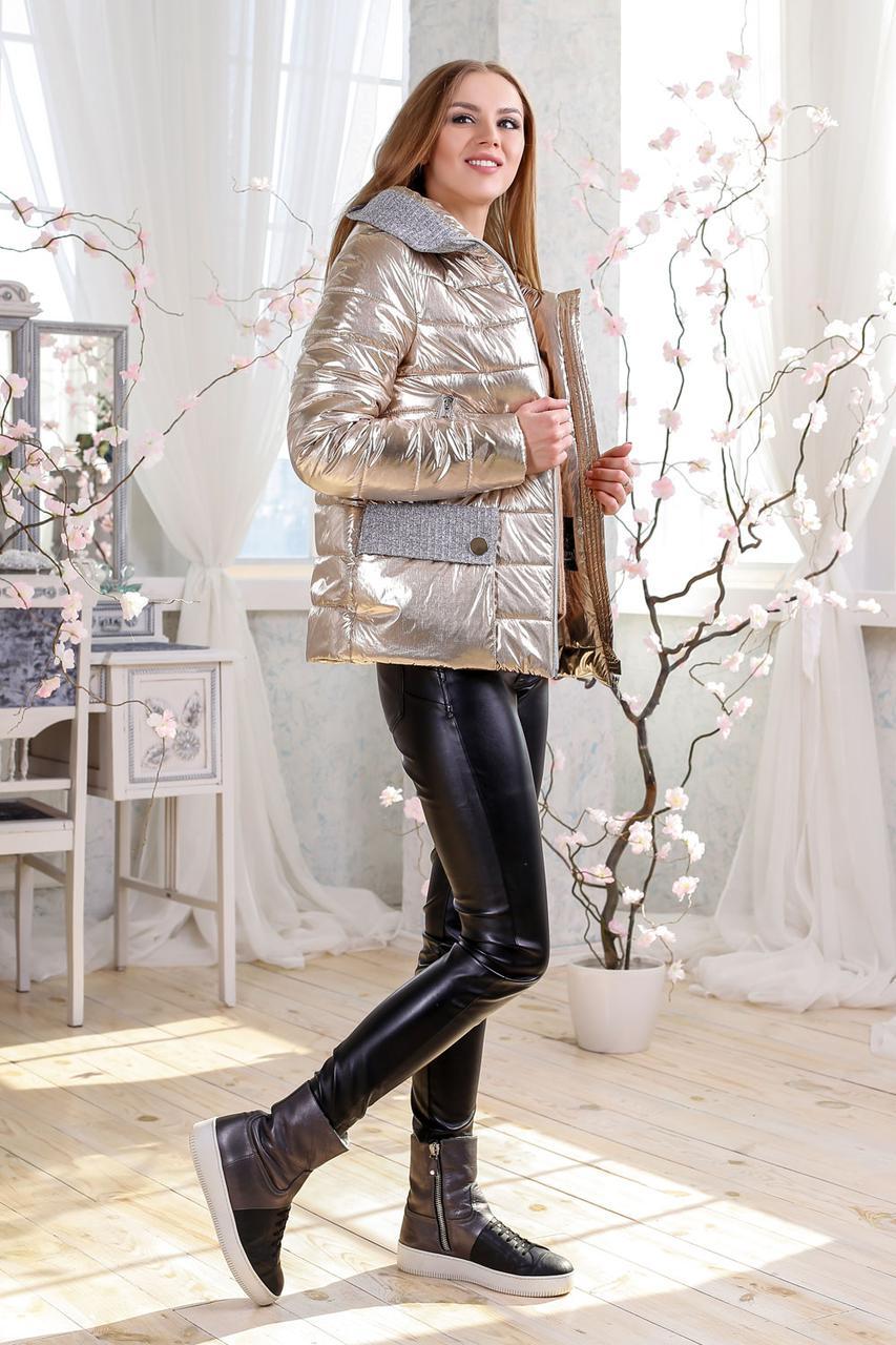 Короткая деми куртка из фольгированной плащевки в модных цветах