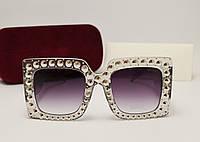 Женские солнцезащитные очки Gucci 0145 copy (Серый перламутр), фото 1