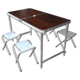Стол складной туристический Verus для пикника + 4 стула. Стол-чемодан
