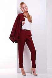 Элегантные женские слегка зауженные брюки с пояском бордовые