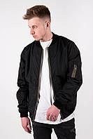 Мужской демисезонный бомбер Dark Side черный с карманом на рукаве, фото 1