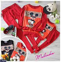 Женский спортивный костюм Gucci Mickey Mouse красный и чёрный Есть детский костюм в наличии