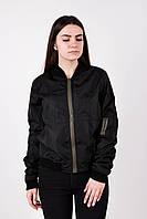 Женский черный бомбер куртка Dark Side с карманом на рукаве