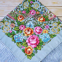 Женский серый платок с цветами (100х100см,серый, 80%-шерсть)