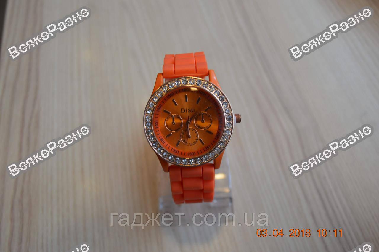 Женские часы DISU (Geneva) со стразами оранжевого цвета.