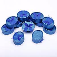 Подарочная коробочка для украшений овальная синяя 12 шт. 8/6,5/3,5 см №11-8