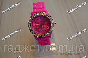 Женские часы DISU (Geneva) со стразами розового цвета., фото 2