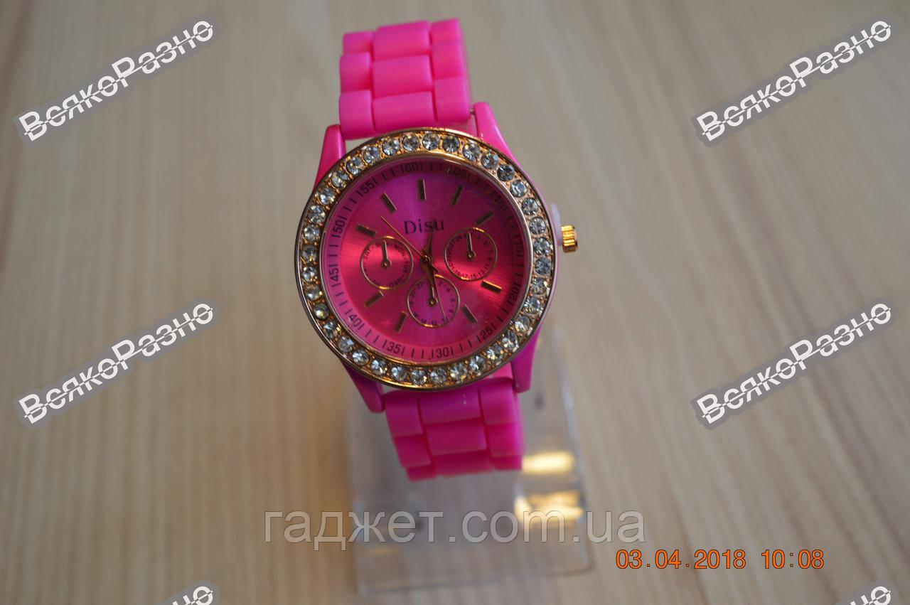Женские часы DISU (Geneva) со стразами розового цвета.