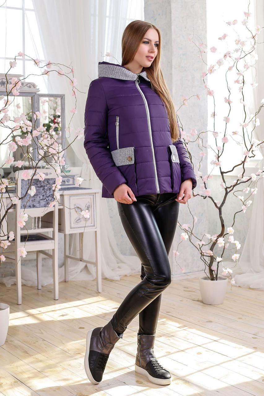 Короткая комбинированная деми куртка