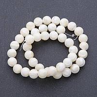 Бусины натуральный Перламутр молочно белый на нитке d-10мм, L-40 см