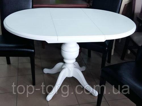 Стіл розкладний Анжеліка (Гермес) білий, діаметр 90см