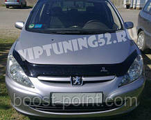 Дефлектор капоту (мухобійка) Peugeot 307 (пежо 307 2001р+)