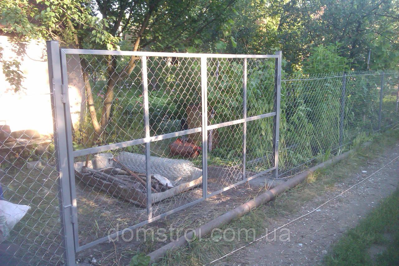 Ворота из сетки рабицы под ключ