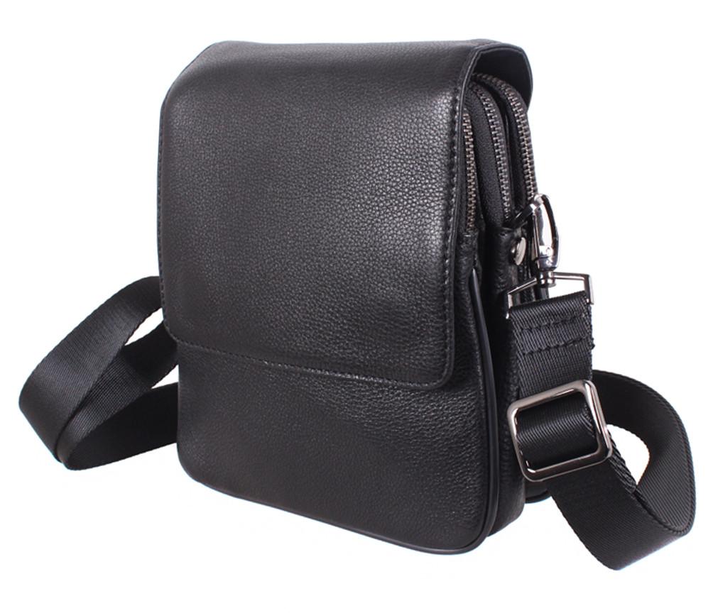 Вертикальная кожаная сумка через плечо Dovhani DL9226-4 черная