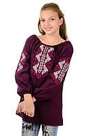 Детская вышиванка для девочки, бордо, рост 146-152