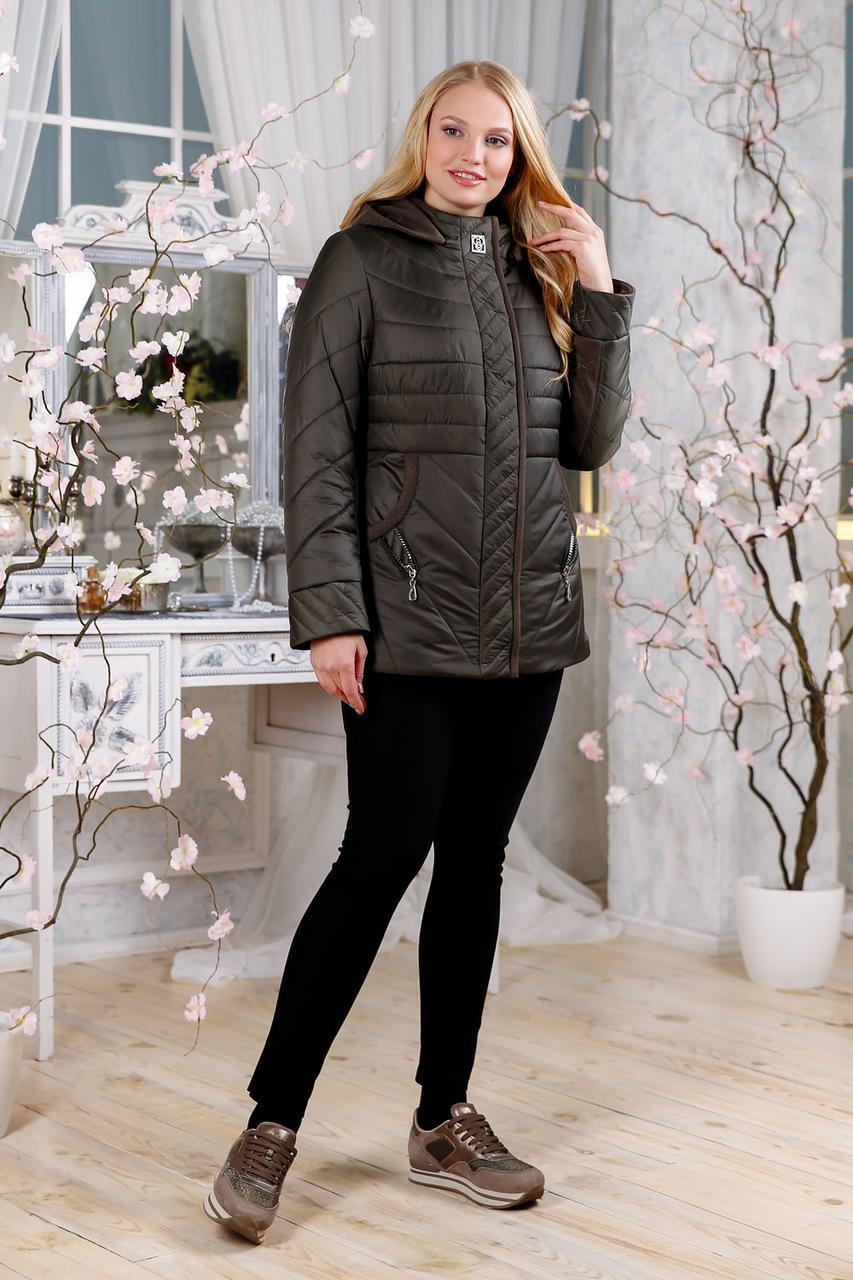 Весенняя куртка с отделкой из ткани, размеры 48-60