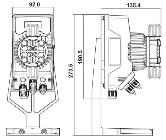 габаритные размеры дозирующего насоса AquaViva Ph/Cl 5л/ч (DRP200NPE0005)
