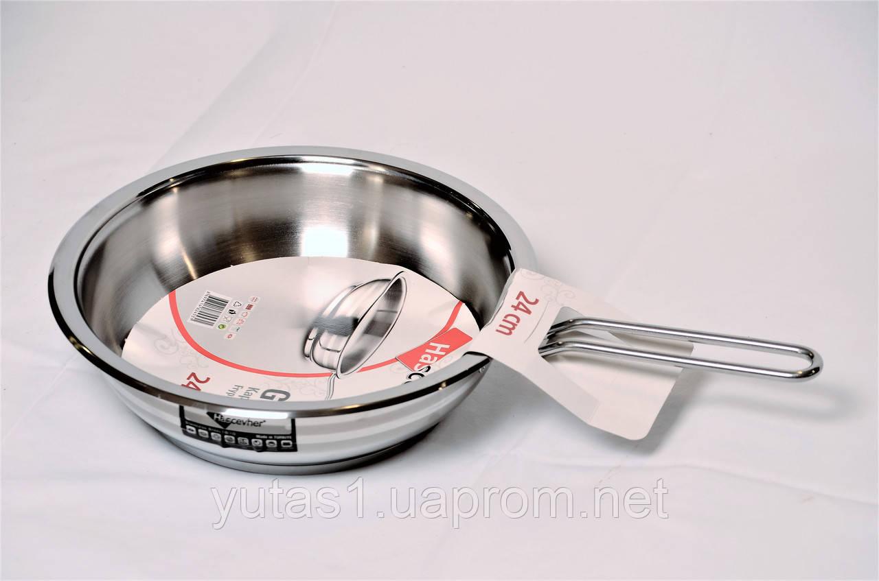 Сковорода из нержавеющей стали без крышки 24x7 Hascevher