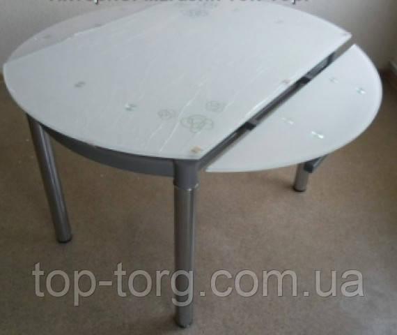 Стол ТВ-66-2 Сандра (120см) стеклянный, бежевый