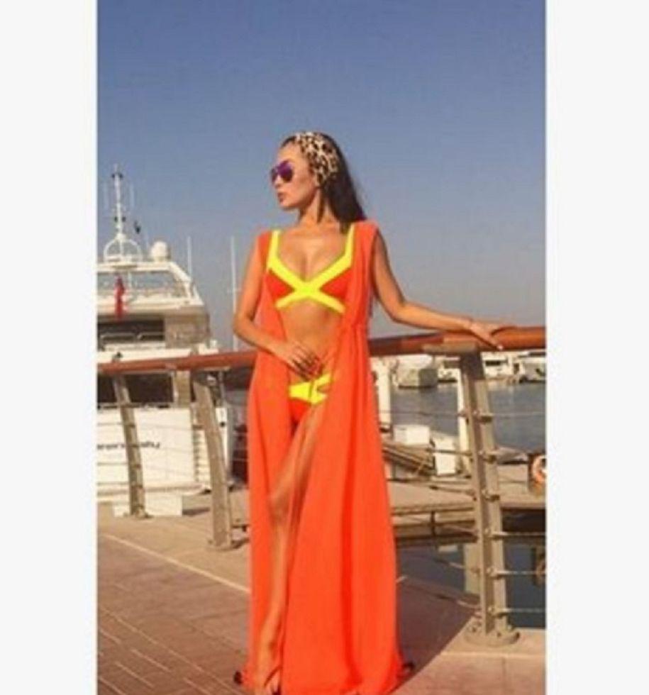 Оранжевый пляжный халат S